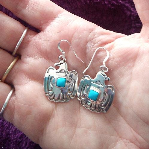 Eagle silver & turquoise earrings