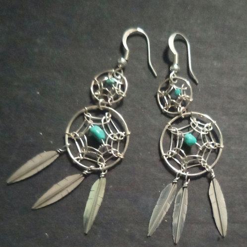 Dreamcatcher silver earrings, double, 3 feathers