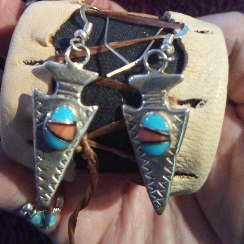 Arrowhead design earrings with inlay turquoise & coral