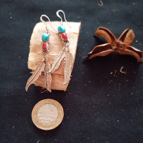 Coral & turquoise silver earrings: 2 feather design