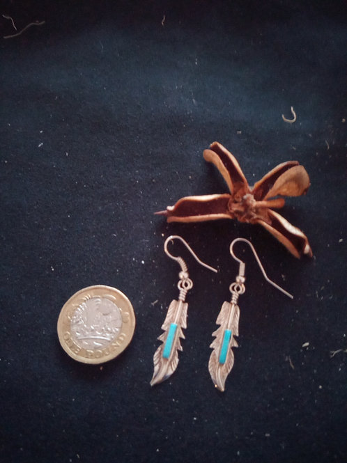 Contemporary earrings: silver & turquoise feather design