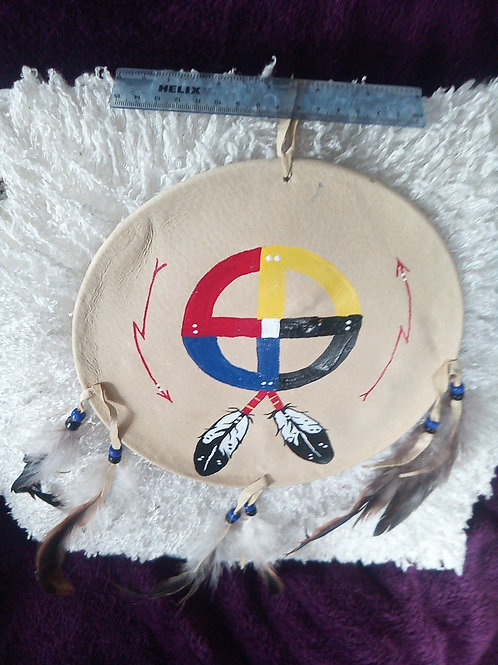 """Circle of Life, 4 Dimensions handpainted shield 9"""", with dreamcatcher keyring"""