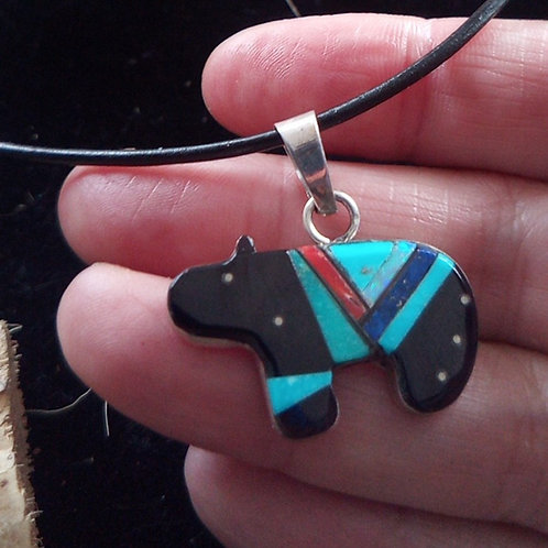 Starshine Bear: Inlay & silver pendant & leather necklace