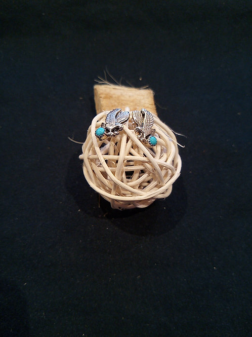 Eagle design earrings with sleeping beauty turquoise stone