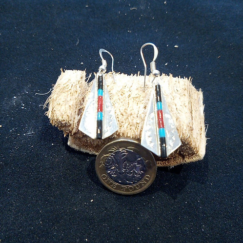 Contemporary earrings: onyx, turquoise, coral & silver, feather design