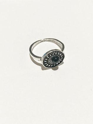 Silver Shield Gem Ring