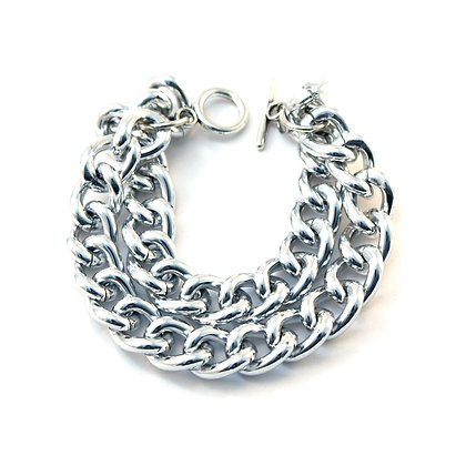 The Double Chain Bracelet in Silver