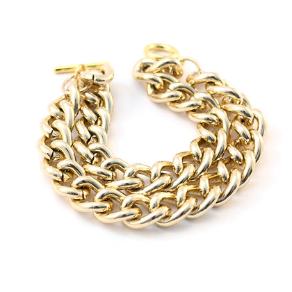 The Double Chain Bracelet in Gold