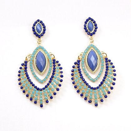 Blue Peacock Fringe Earrings