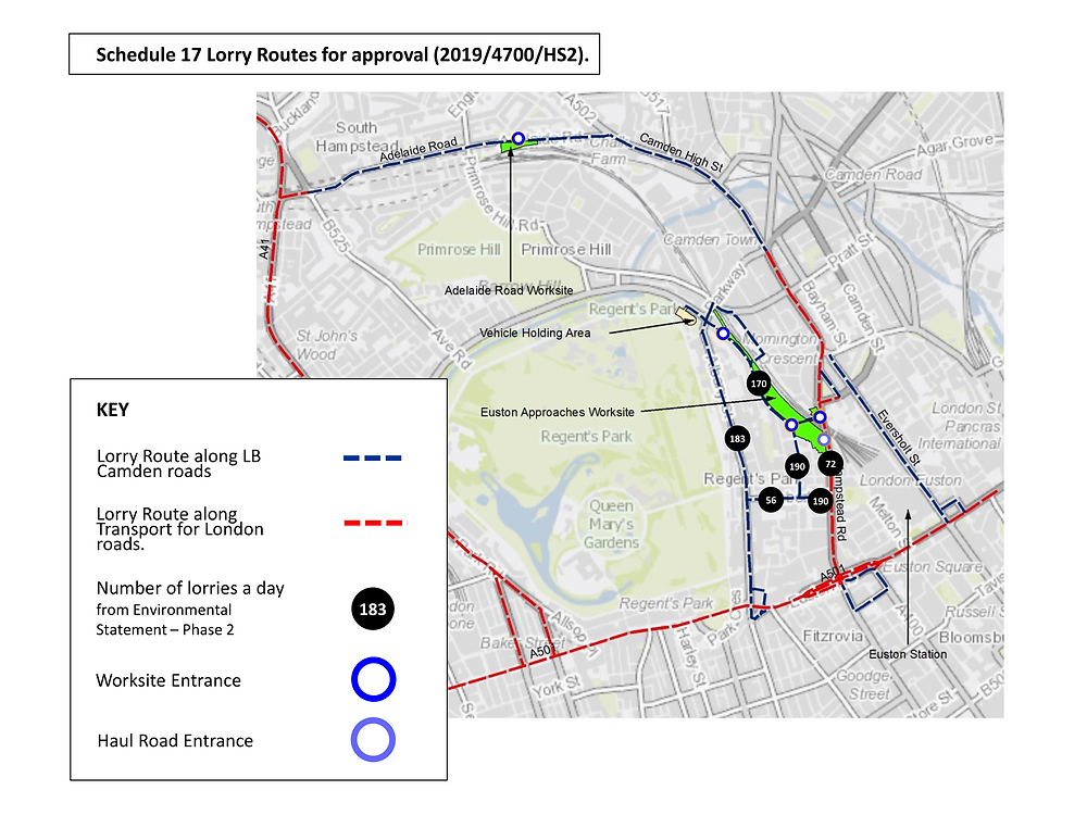 Map of proposed HS2 lorry routes
