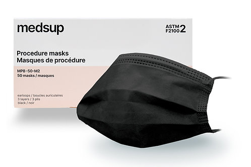 Masque de procédure médical noir Niveau 2