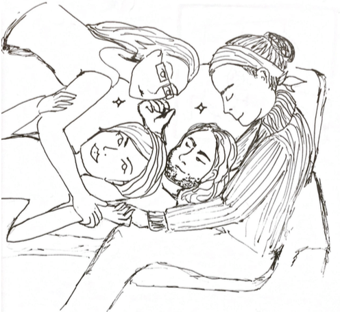 Drawing of a group of people laying in different positions on a couch