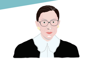 Simple graphic of Ruth Bader Ginsberg in her judge robes