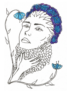 Drawing of a woman with blue hair looking at blue flowers with a pair of hands at her throat