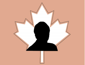 Silhouette of Cathy Bennett over top of a maple leaf