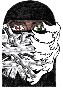 Drawing of a woman in a hijab. Her left eye has a maple leaf in it, her right is green. There are chains across the left side of the drawing and doves on the right