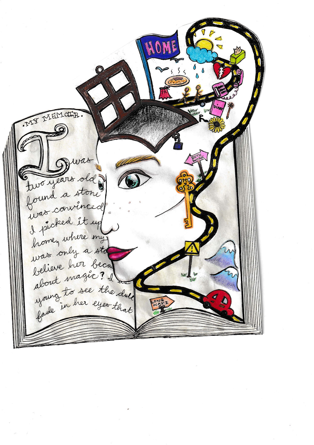 Drawing of a face coming out of a book with a road circling the right side of the face.