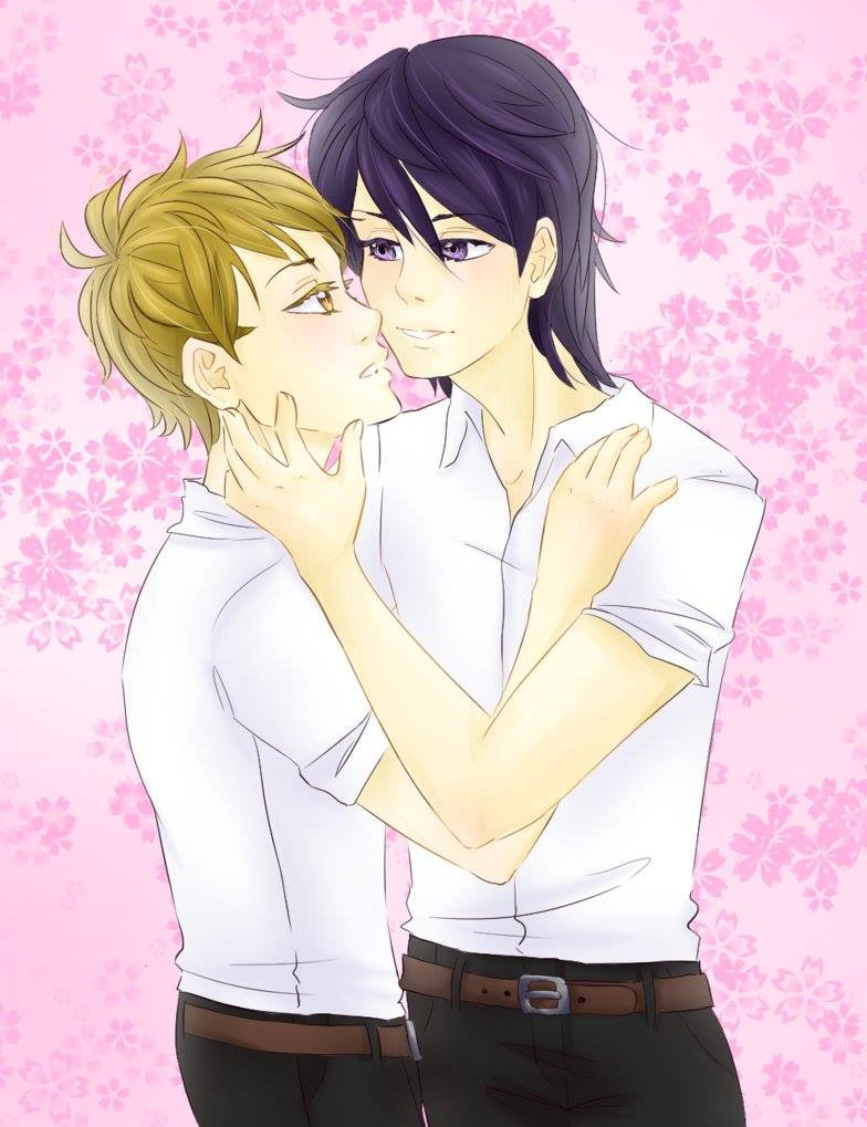 Drawing of two anime male characters embracing in front of a pink background