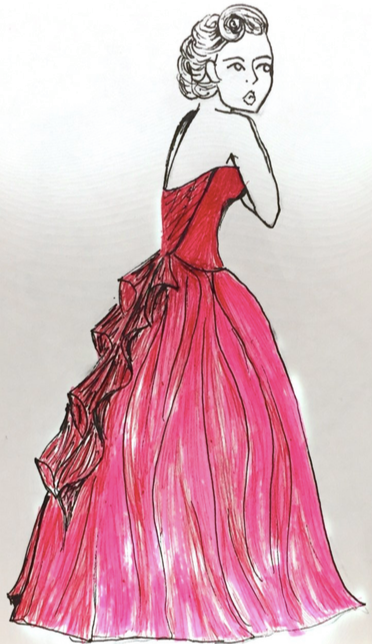 Drawing of a woman with her hair up wearing a long red ballgown and holding her arms to her chest
