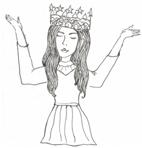 Drawing of a girl with long hair wearing a crown and holding her arms up