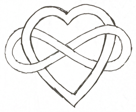 Graphic of a heart with an infinity symbol wrapped around it