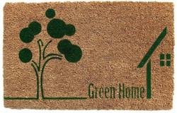 Natural Green home printed coirmat