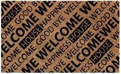Beige black welcome coir mat