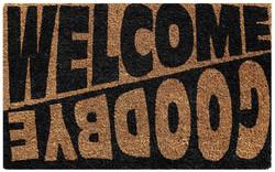 Welcome goodbye printed natural coir mat