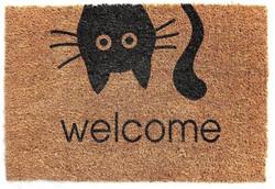 Cat welcome printed natural coir mat