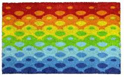 Rainbow diamond printed natural coir mat