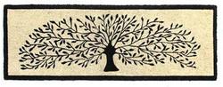 Tree modern printed natural coir mat