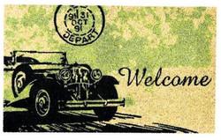 Vintage car printed natural coirmat