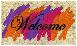holi welcome printed natural coirmat