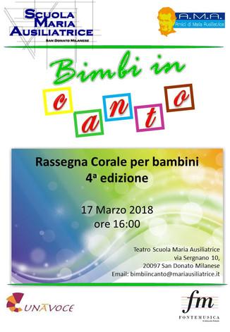 BIMBI IN CANTO                   17 marzo 2018 ore 16:00