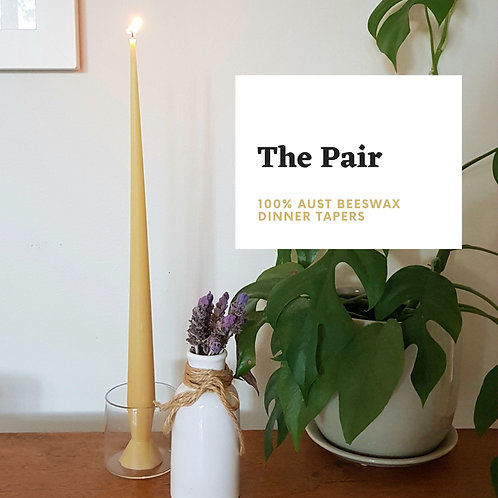 Dinner Taper Candle Pair -100% Pure Beeswax
