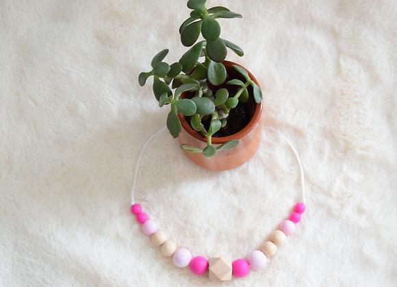 Collier perles en silicone et bois