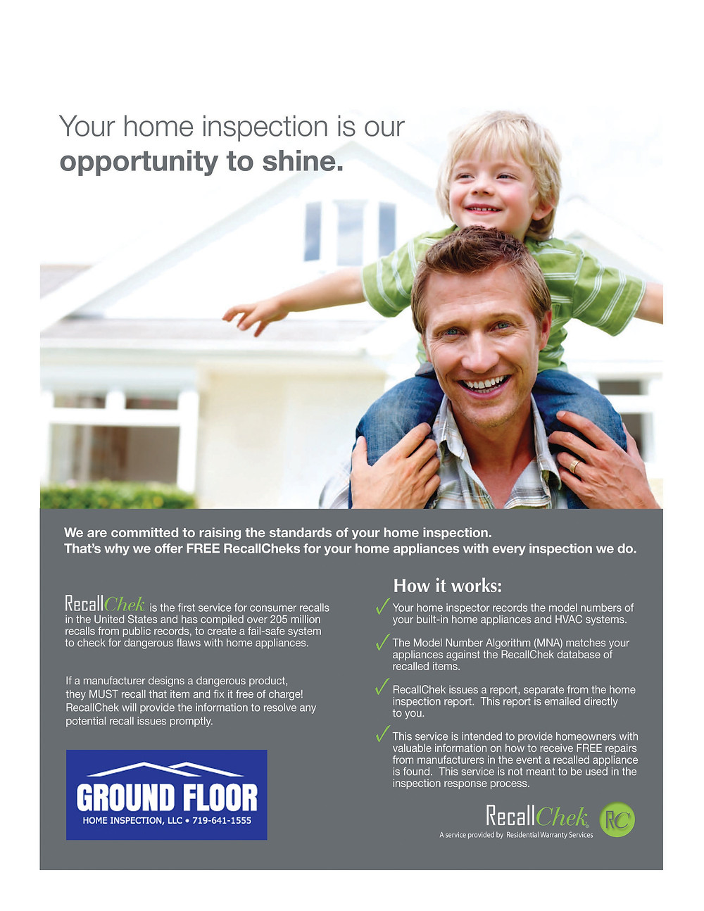 RecallChek, free for realtors, compliments of Ground Floor Home Inspection