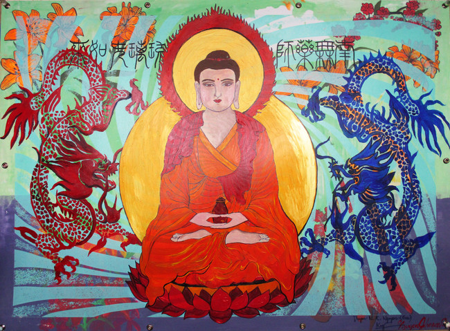 Buddha with Two Dragons