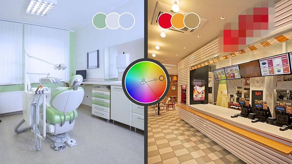 Imagem mostrando a diferença de matizes de cor utilizadas em um consultório e uma lanchonete.