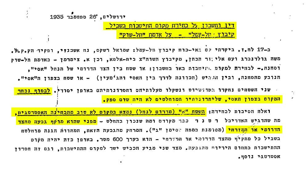 ספטמבר 1935 -  האדריכל ד״ר י. קויפמן מסייר בשטחים המיועדים להקמת הקיבוץ יחד עם חברי גרעין השומר הצעיר וקובע כי השטח שמדרום לנחל ״נמצא במקום לא טוב מבחינה אסטרטגית