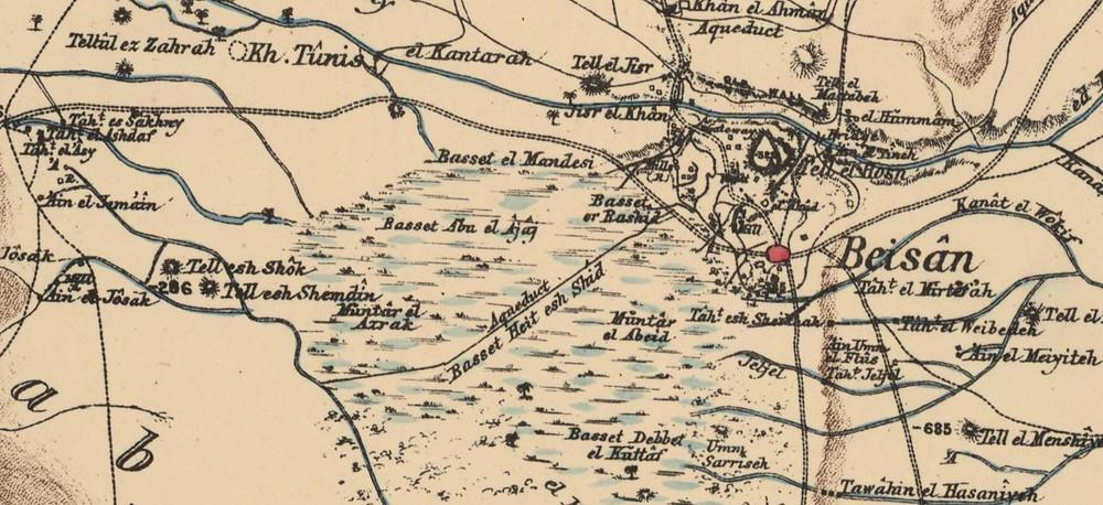 לביצת תל שוק זרמו נחל האסי ונחל הקיבוצים. הביצה הגיעה כמעט עד בית שאן. מתוך מפת הקרן הבריטית לחקר ארץ ישראל (1880)
