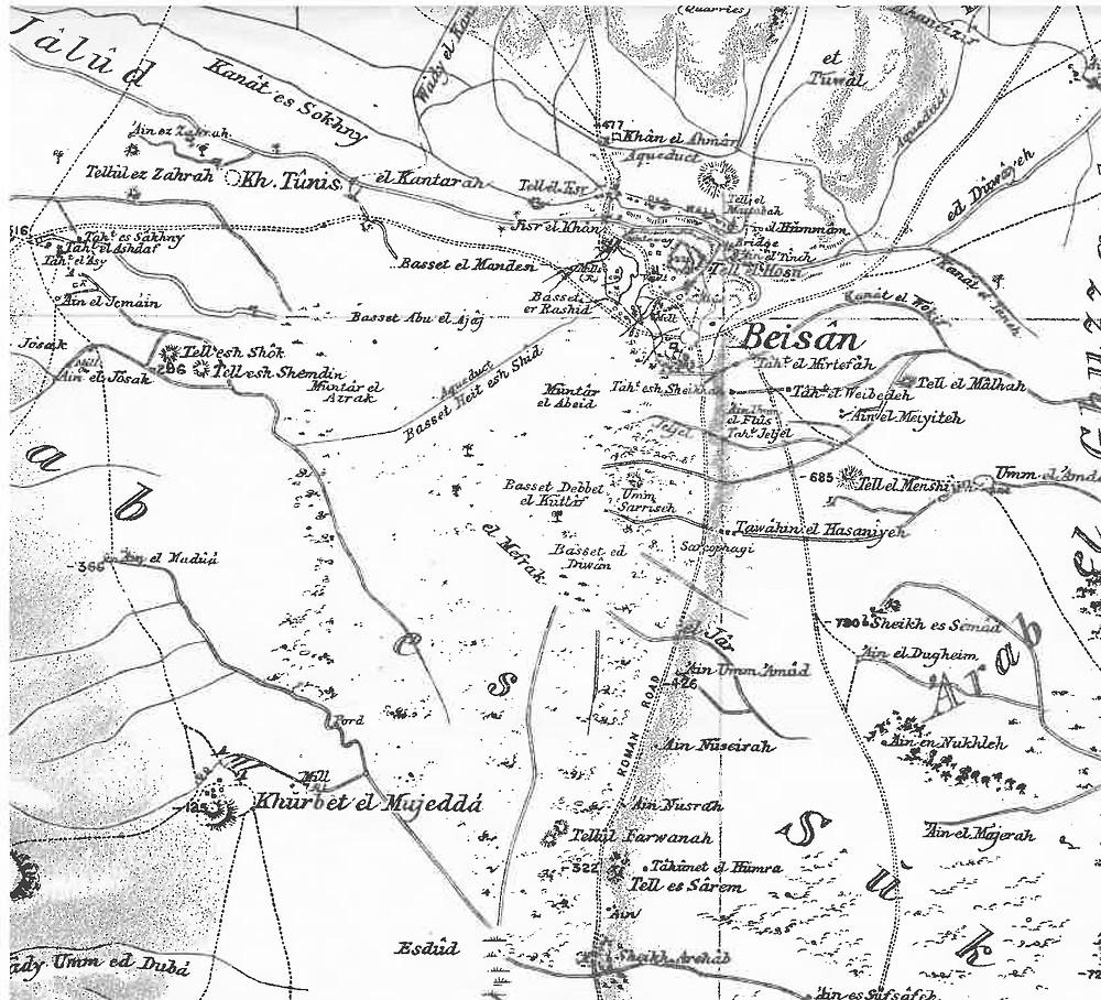 ללא שינוי ניכר בביצת תל שוק שממערב לבית שאן. מפת הקרן הברטית מהדורה שניה מאי 1917.
