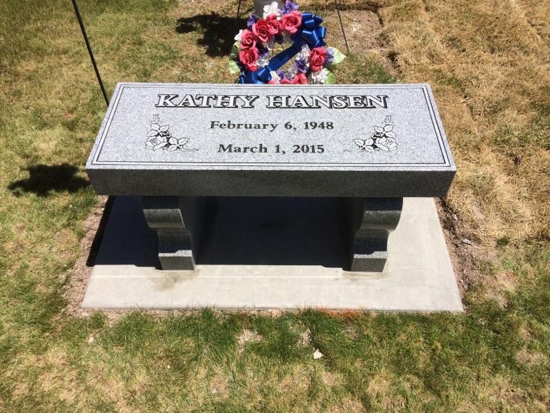 3 piece bench headstone light grey hanse