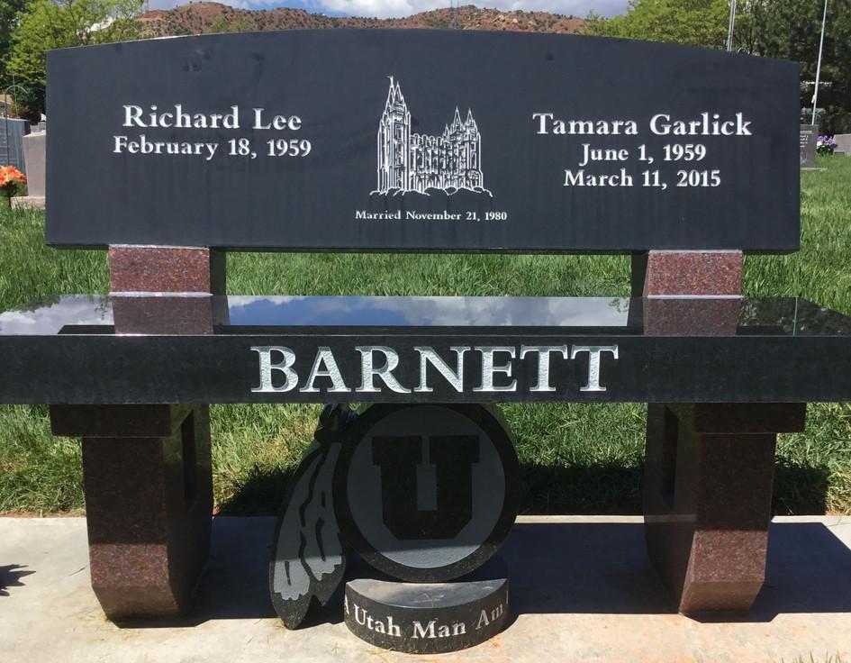 Custom park bench black and red granite.