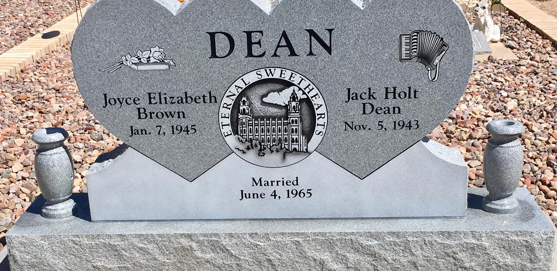 Double heart headstone light grey granit