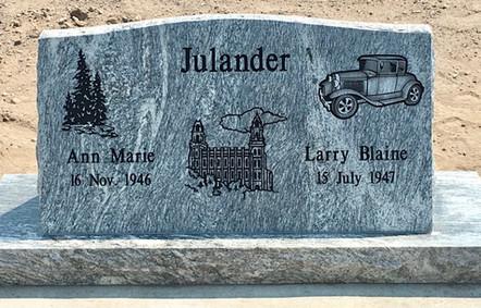 """36"""" silver cloud western slant headstone"""