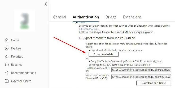 Tableau authentication method