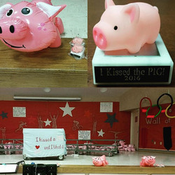 This school was ready for their _kiss the pig_ presentation from farmer Sean today