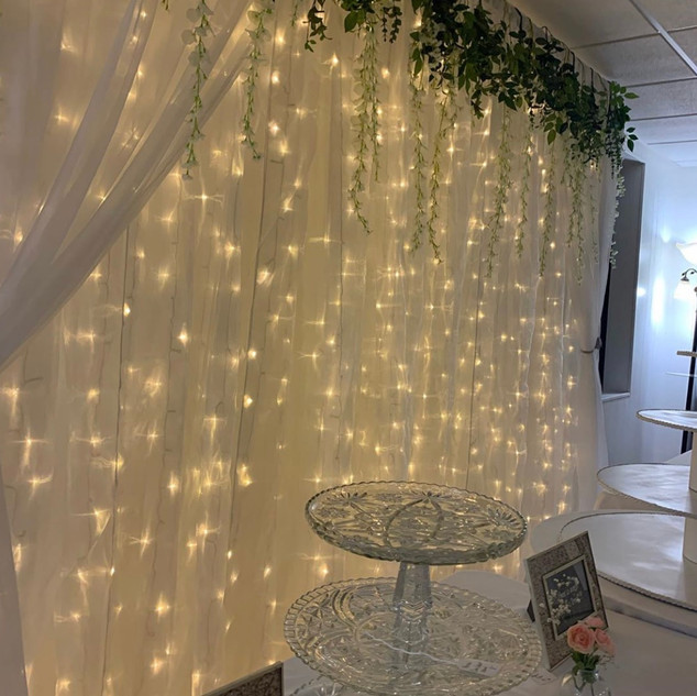 Organza Lit Backdrop with Greenery behin