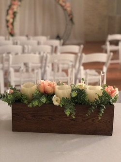 Wood Box Centerpieces with Flowers
